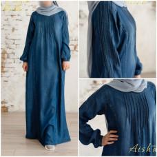 Платье джинсовое со складками
